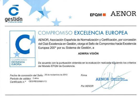 El grupo Admira Visión renueva su compromiso con la calidad EFQM