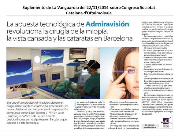 Noticia de La Vanguardia sobre la apuesta tecnológica del grupo Admiravisión
