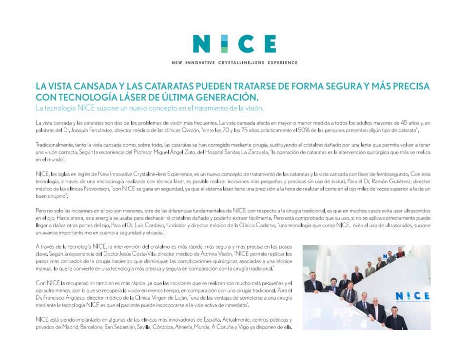 Publireportaje El País Semanal sobre nueva tecnología NICE