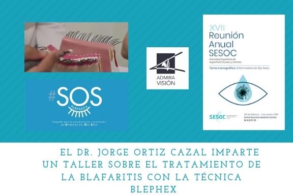 En la XVII Reunión de la SESOC (Sociedad Española de Superficie Ocular y Córnea), el Dr. Jorge Ortiz Cazal, experto en superfície ocular de nuestro grupo, impartió un taller sobre el tratamiento de la blefaritis, una de las principales causas asociadas al Síndrome del ojo seco. El eje princial del taller fue poner en conocimiento de los asistentes, la presencia de un ecosistema de microorganismos en los párpados, en forma de biopelícula, la cual es removida automáticamente mediante el sistema de blefaroexfoliación con Blephex. Este taller se impartió en el marco de la campaña de concienciación y pervención del síndrome del ojo seco #SOSPARPADEA. El taller tuvo una gran acogida entre los participantes. Este tratamiento está dando muy buenos resultados entre nuestros pacientes afectados de esta patología.